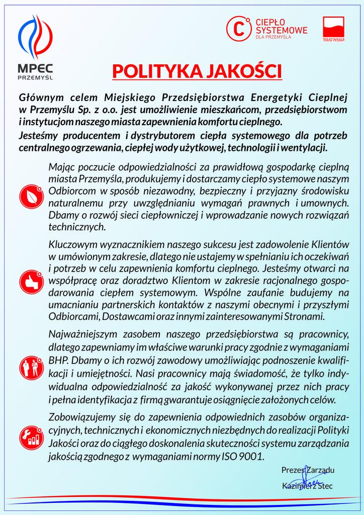 Polityka Jakości MPEC Przemyśl Sp. z o.o.